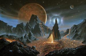 Planet of a Brown Dwarf Artwork by David Hardy